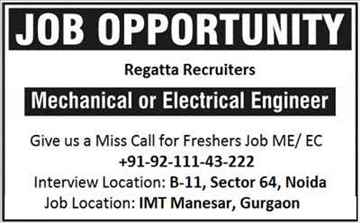 Urgent hiring for Mechanical Engineer in Noida Delhi NCR