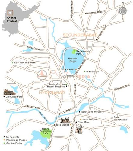 Tourist Map of Hyderabad