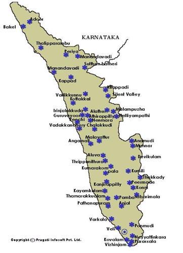 Tourism Map of Kerala