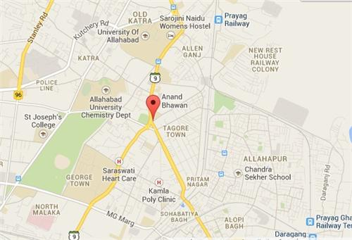 Kamala Memorial Nehru Hospital in Allahabad Map