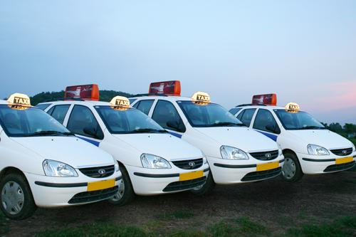 Taxis lined at one of the Taxi stands in Chandigarh