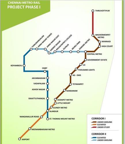 Chennai Metro Rail - Route Map