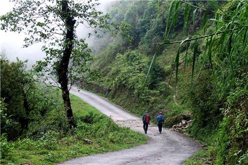 Backpackers Trekking at Tiger Hill in Darjeeling