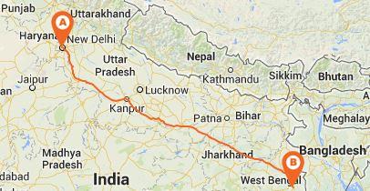 Road Map Delhi to Kolkata