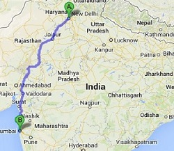 Road Map Delhi to Mumbai