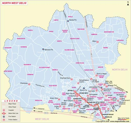 North-West Delhi Map
