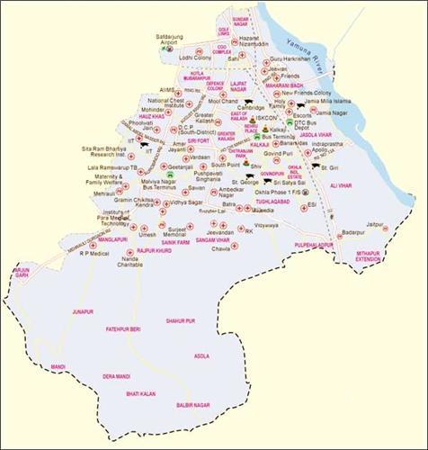 South Delhi District Map