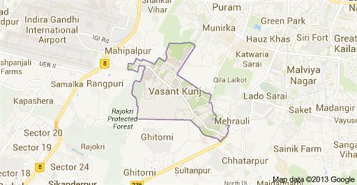 Map of Vasant Kunj