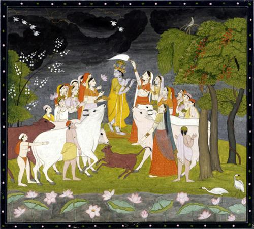 Krishna with Flute Depicted in Kangra Paintings