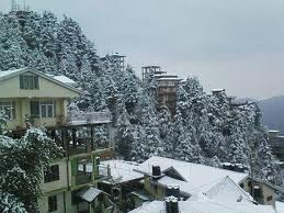 Snow covered trees and mountains in Winter season in Kasauli