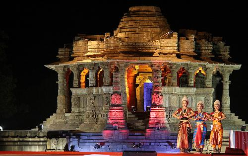Significant Night View of Modhera Sun Temple in Mehsana