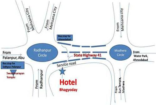 Location Map of Hotel Bhagyoday in Mehsana