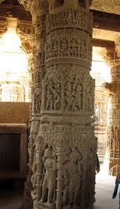 Wonderfully crafted pillars of Modhera Sun Temple in Mehsana