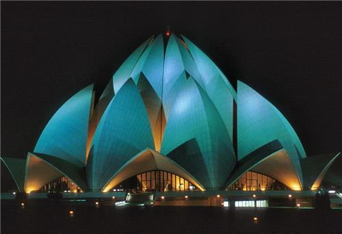 Magnificent Night View of the Lotus Temple near Noida