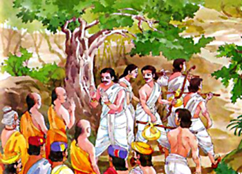 Pandavas going for exile