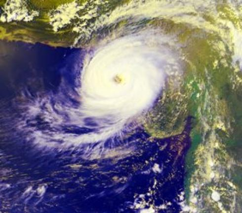 2009 Cyclone approaching the coast of Gujarat