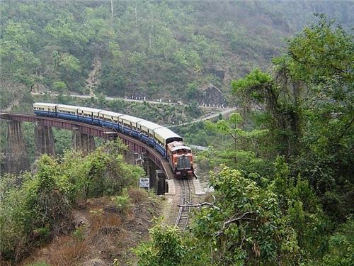Toy Train in Shimla Crawling Through Mountains