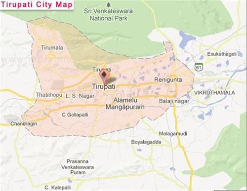Map of Tirupati