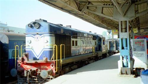 Trains passing by the Bathinda Railway Station