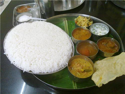 Lunch in Chennai with rice and legumes