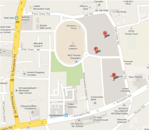 Map VOC Park Coimbatore