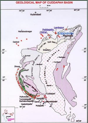 A Map of Cuddapah Basin