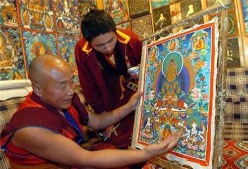 Monks Examing Thangka Artwork