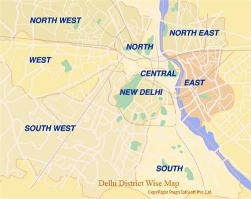 Delhi District Wise Map
