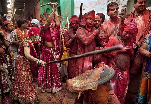 Holi celebrations in Mathura