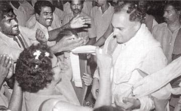 Rajiv Gandhi at his last meeting