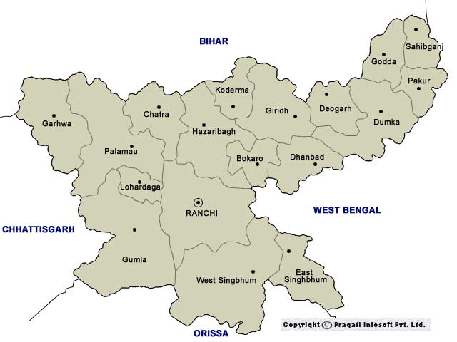 Political Map Of Jharkhand Physical Map Of Jharkhand - Dhanbad map