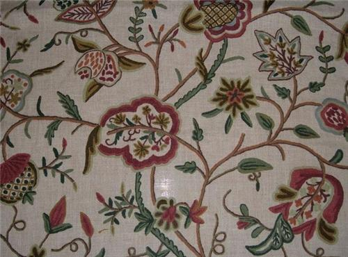 Upholstery Fabric with Crewel Work