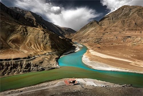 View of Confluence of Indus and Zanskar Rivers
