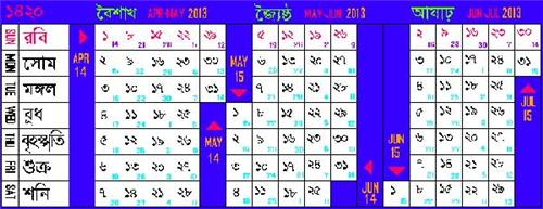 Calendar in Kolkata