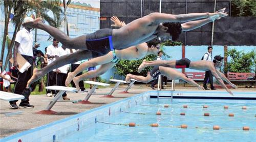 Swimmers taking a dive