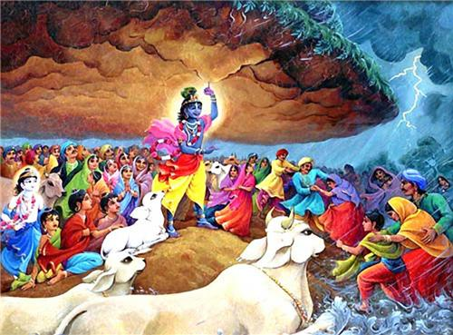 Lord Krishna Lifting Giriraj Parvat to save Living Beings