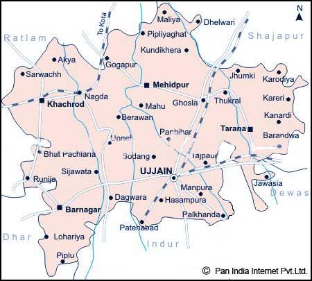 Ujjain Temple Map Map of Ujjain District