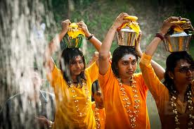 Women celebrating Thaipoosam Festival