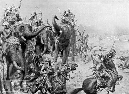Elephants in the army of Hemu at Second Battle of Panipat