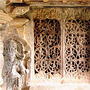 Perforated window pane at Tripurantaka Temple in Shimoga