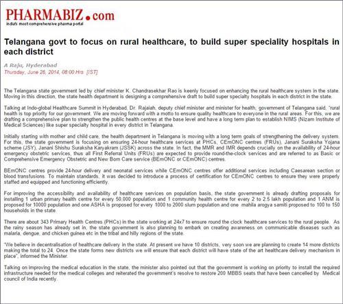 Healthcare News of Telangana
