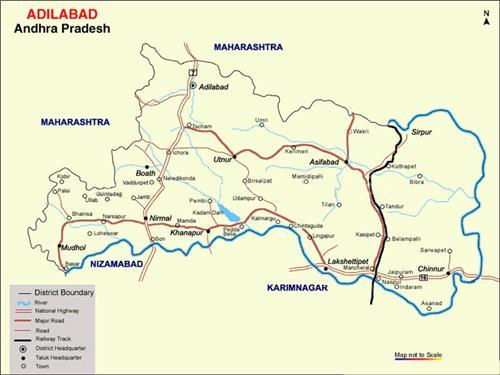 Map showing Adilabad