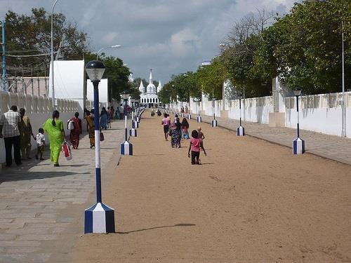 Pilgrims walking on their knees towards the Velankanni Pond