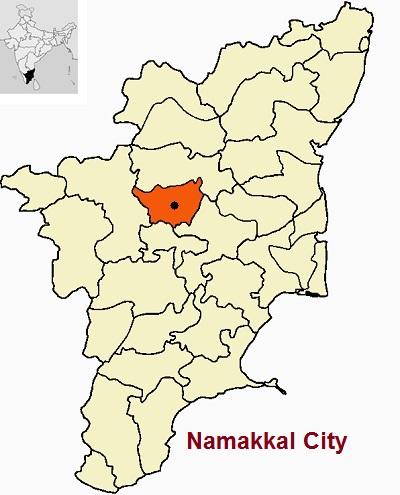 Namakkal City on TN Map