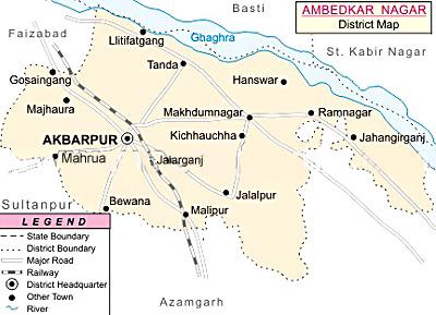 Map of Ambedkar Nagar