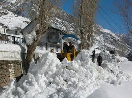A view of the snowfall in Chamba