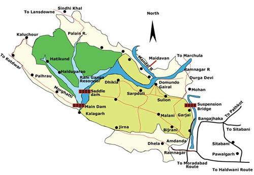 Road routes to reach Kalagarh in Uttarakhand