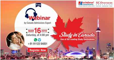 Free Webinar on Study in Canada 16th March 2019