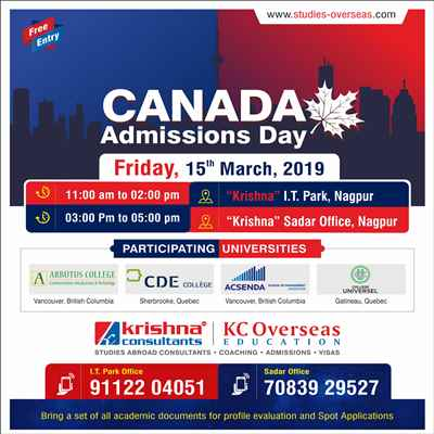 Meet Top Canadian Universities at KC Nagpur on 15th March 2019 Register Now