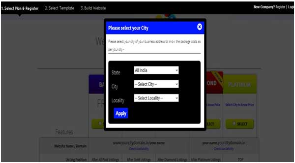 Select City on Get Online